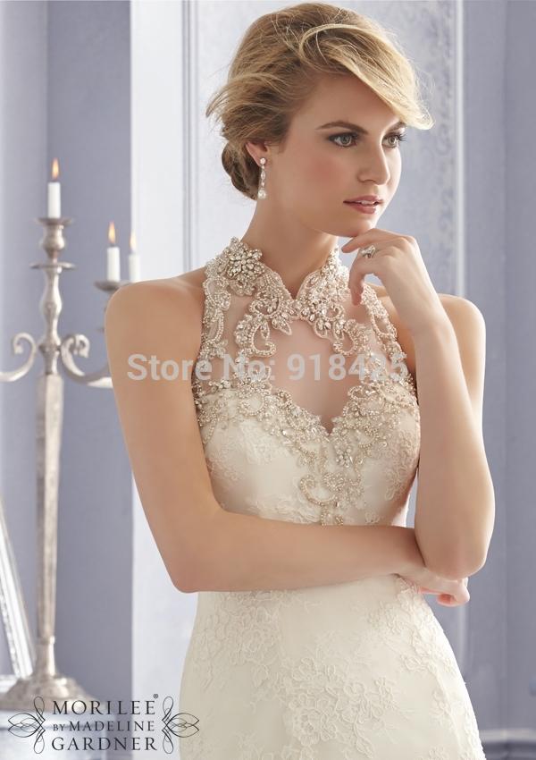 Peinados de novia vestido cuello alto